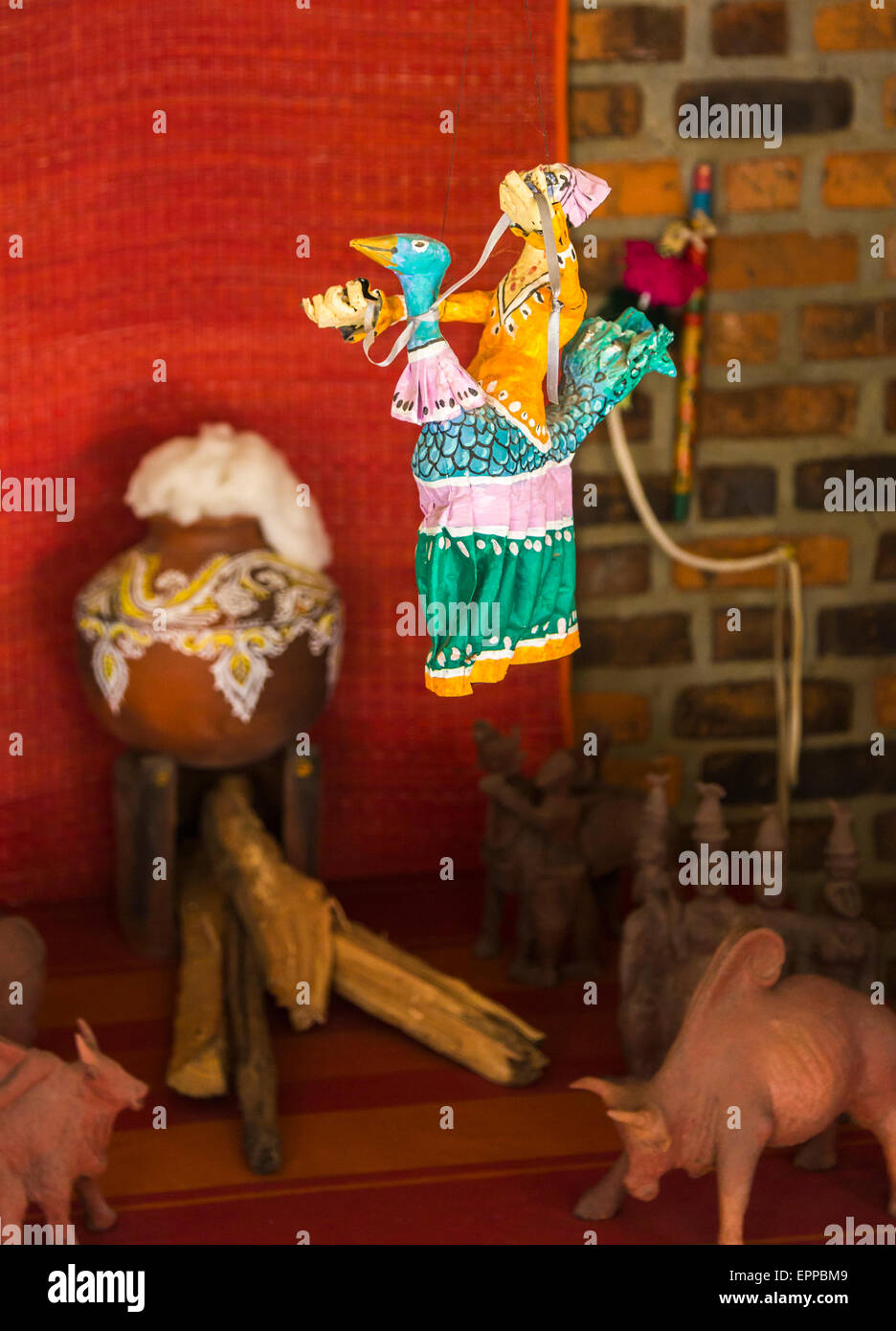 Traditional colourful marionette puppet tourist souvenir at DakshinaChitra Heritage Museum near Chennai, Tamil Nadu, - Stock Image