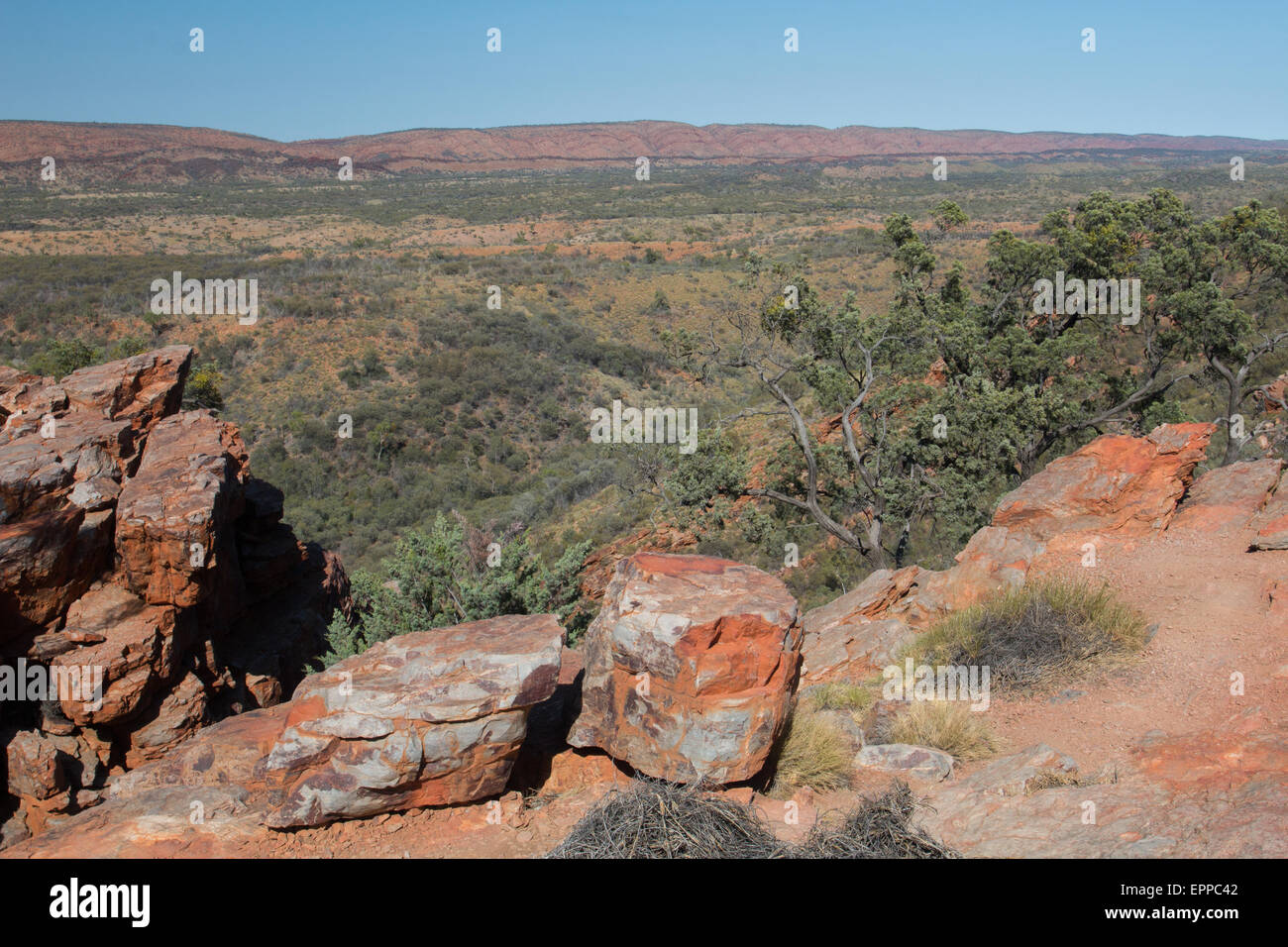The MacDonnell Ranges from the top of Serpentine Gorge, Northern Territory, Australia - Stock Image