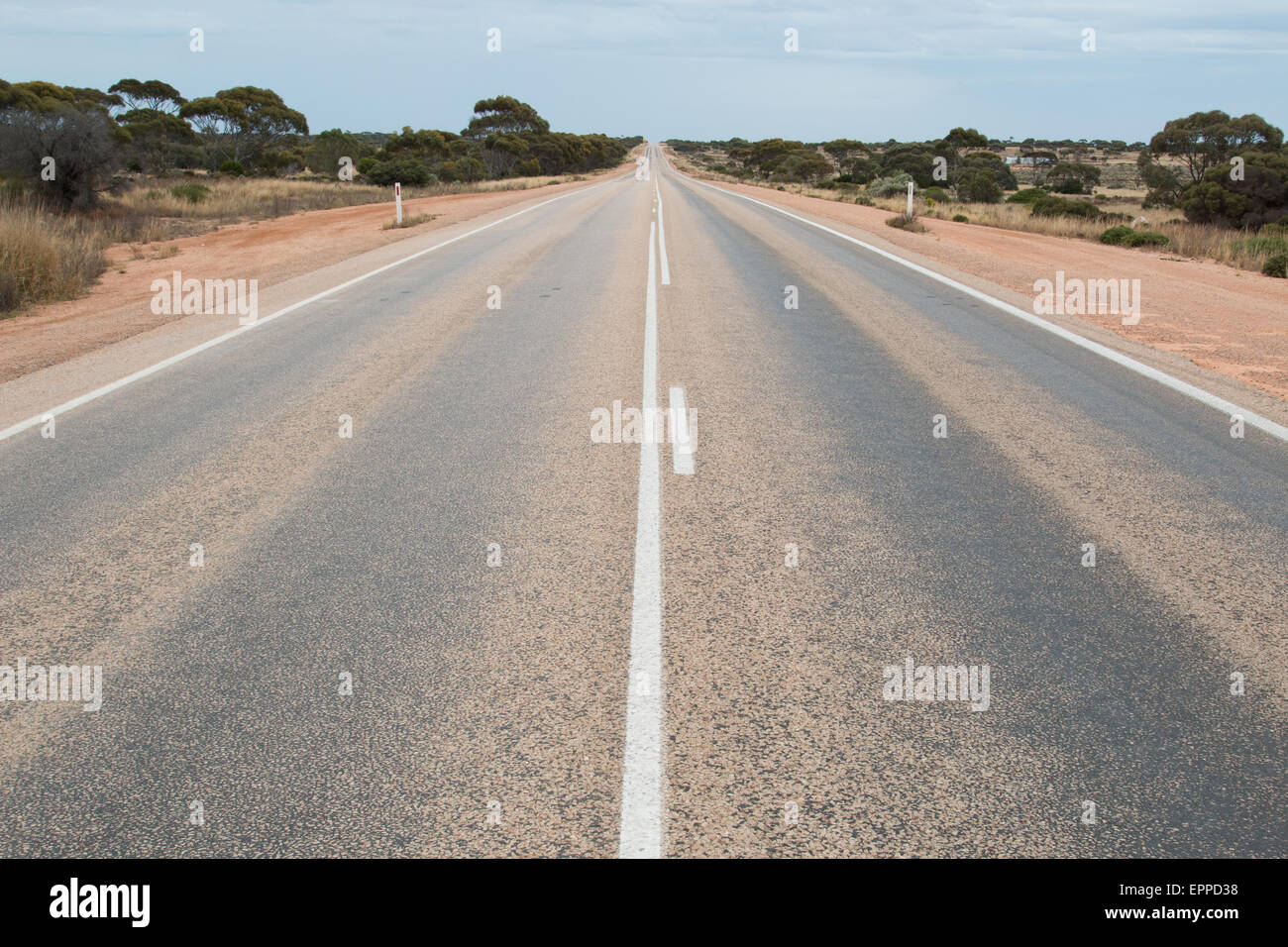 the start of the longest straight road in Australia - 150km to the next corner, Nullabor desert, Western Australia - Stock Image