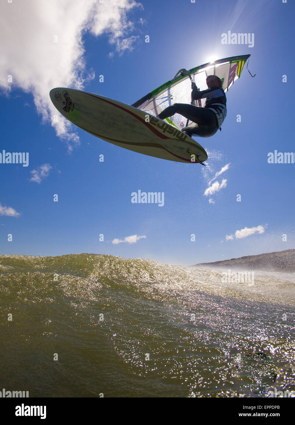 Windsurfer airs it out at Maryhill Sate Park. - Stock Image