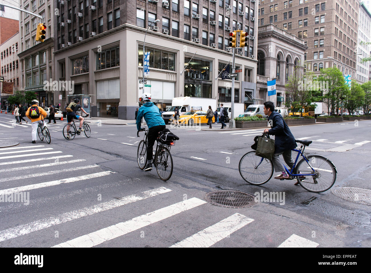 Bicyclists commuting during the New York morning rush hour. - Stock Image
