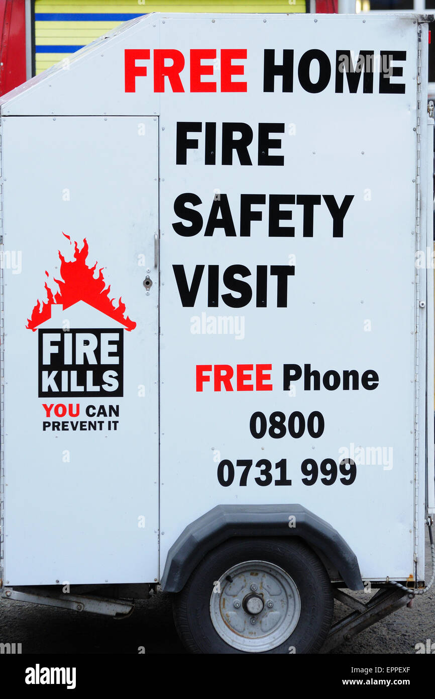 Advertisement for Home fire safety checks on the side of a display unit. - Stock Image