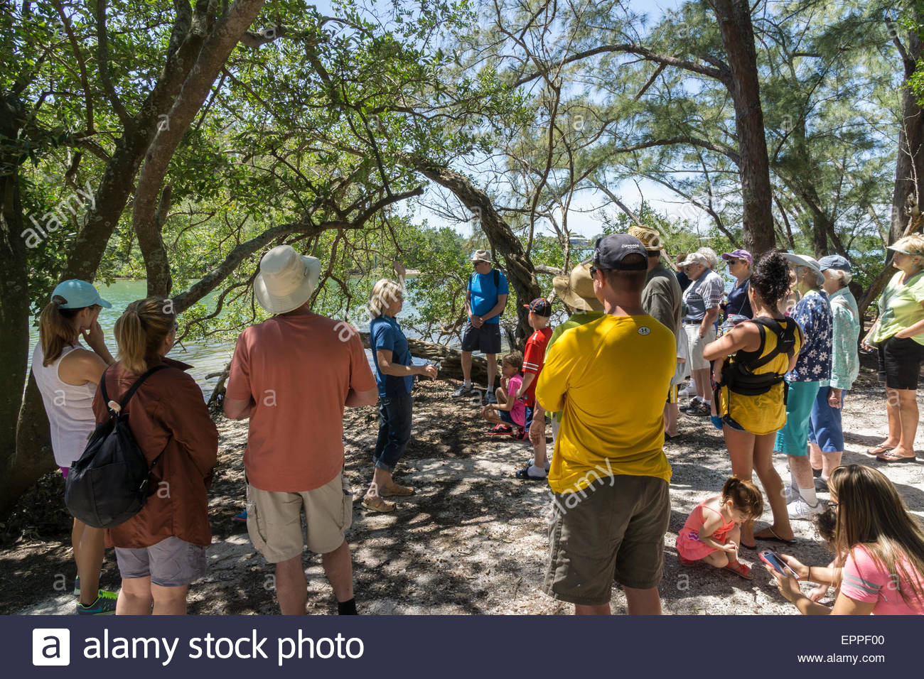 A volunteer naturalist talks to an eco-tour group on an uninhabited island on Sarasota Bay in Sarasota, Florida - Stock Image