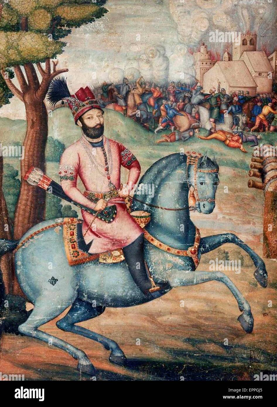 Nadir Shah at the sack of Delhi - Battle scene with Nader Shah on horseback  1739 - Stock Image