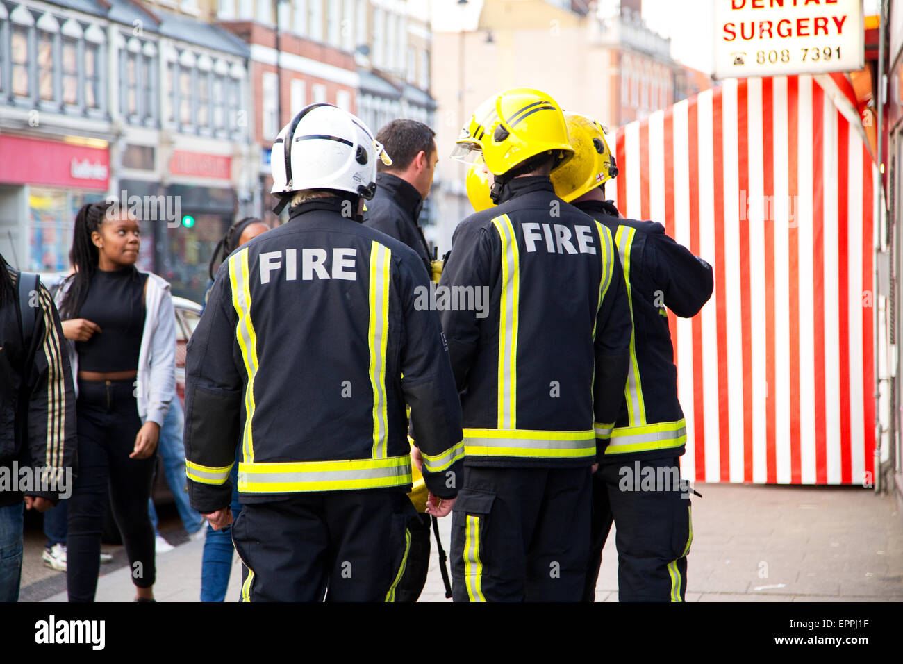 LONDON - APRIL 9TH: The fire brigade attend an emergency in Tottenham on April 9th, 2015 in London, England, UK. - Stock Image