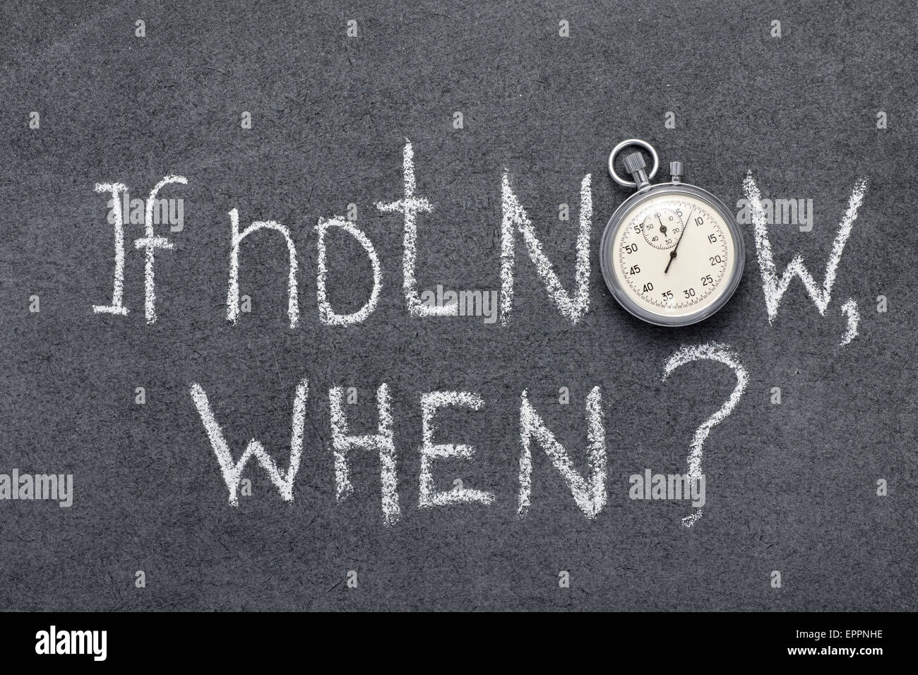 if not now, when question handwritten on chalkboard with vintage precise stopwatch used instead of O - Stock Image