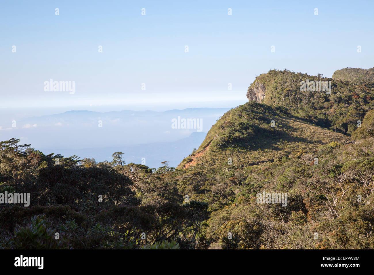 World's End cliff at Horton Plains national park, Sri Lanka, Asia Stock Photo