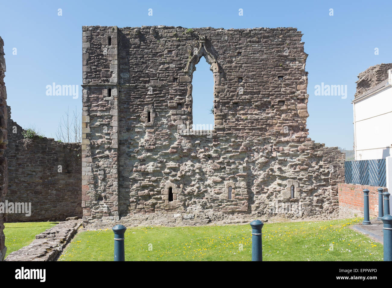 The ruins of Monmouth Castle, a grade 1 listed building and scheduled monument Stock Photo