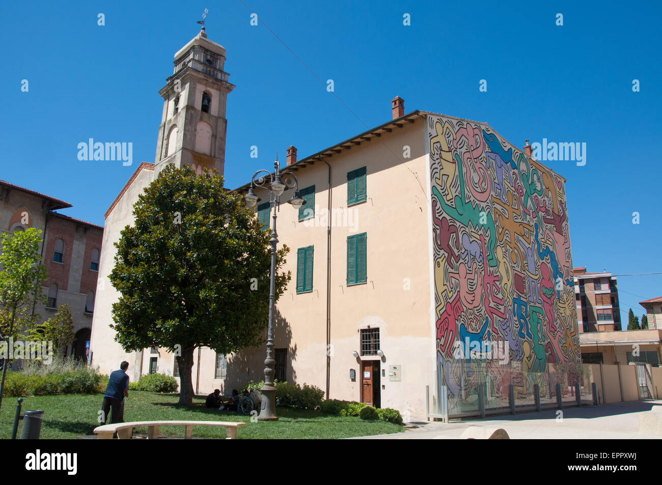 The Pisa's Mural (1989) by Keith Haring. Theme of peace and harmony in the world - on the south wall of the - Stock Image