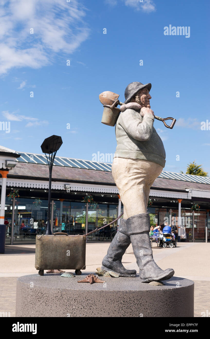 Jolly Fisherman statue at Skegness rail station,  Lincolnshire, England, UK - Stock Image