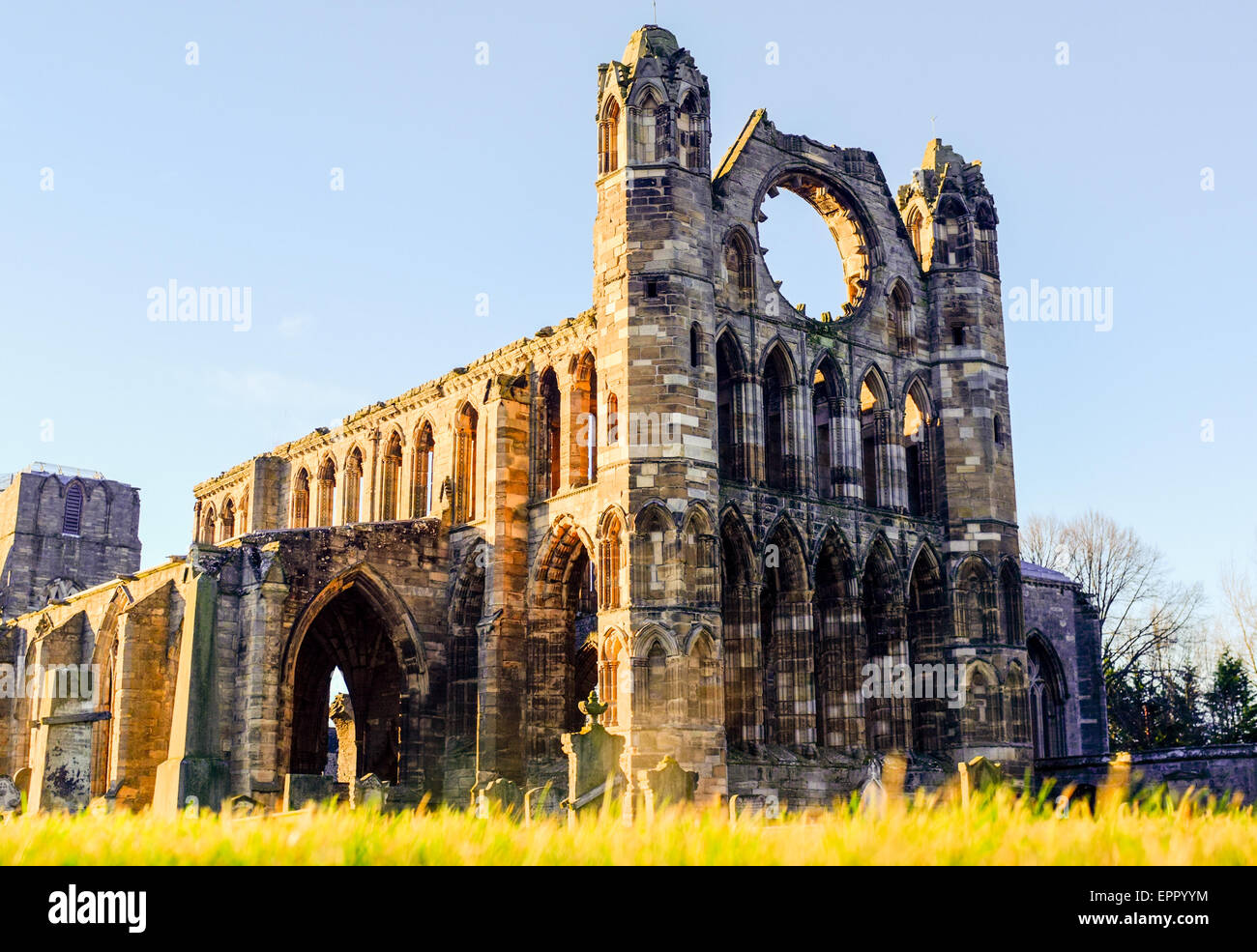 Elgin Cathedral at sunset in Elgin, Scotland, Moray, Morayshire. - Stock Image