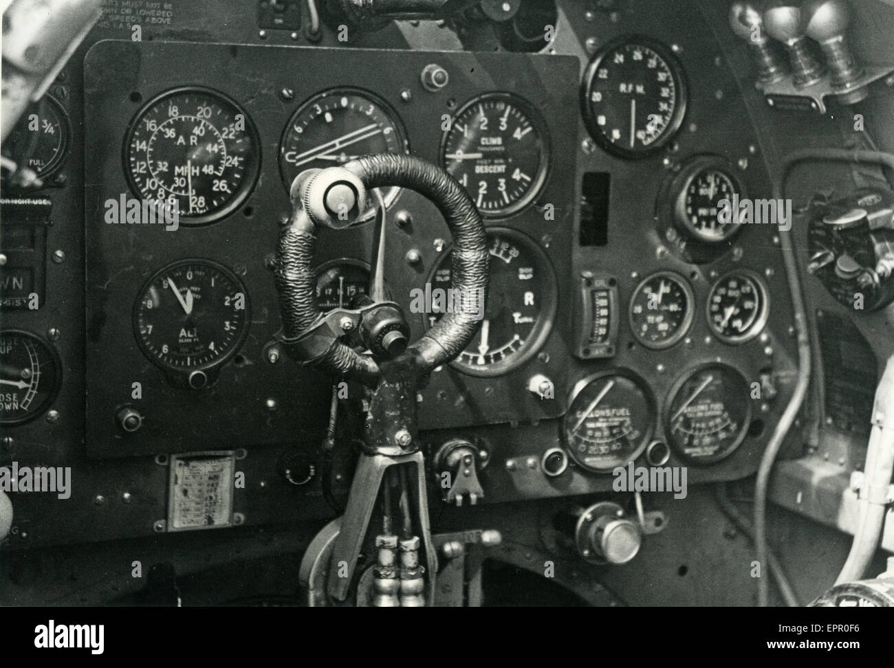 COCKPIT OF SPITFIRE MV-K (R6883) based at Warmwell in summer of 1943 before No 600 Squadron RAF transferred to Malta - Stock Image