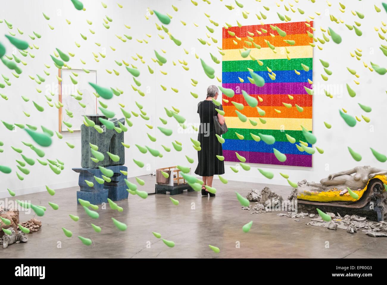 Florida Miami Art Basel international fair exhibition modern contemporary painting pictures sculptures green raindrops Stock Photo
