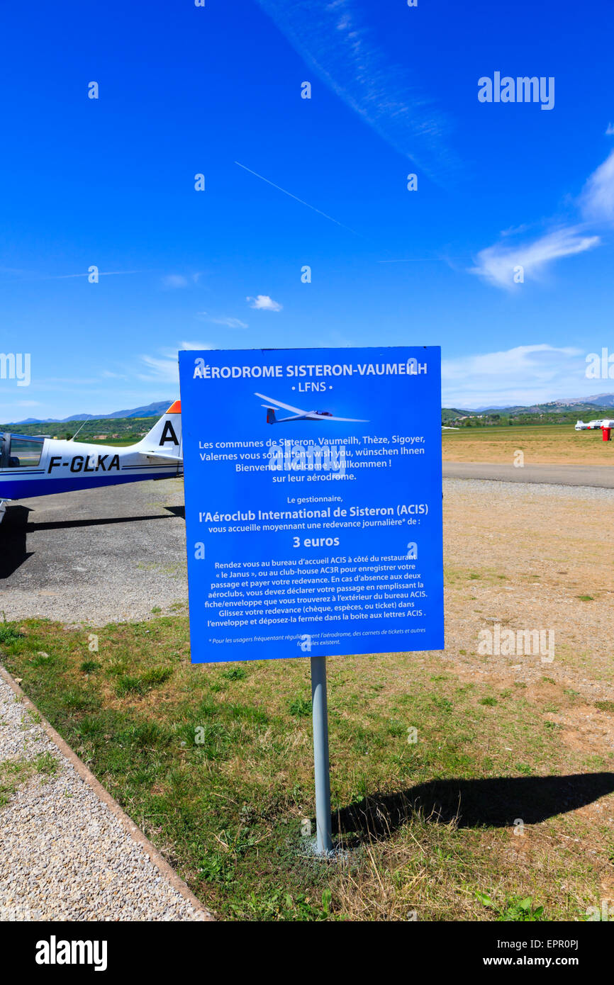 Sisteron Airfield welcome sign. Aerodrome Sisteron Vaumeilh, France - Stock Image