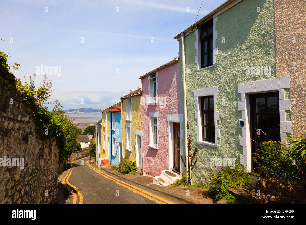 Colorful houses, Mumbles, Swansea, Wales. - Stock Image