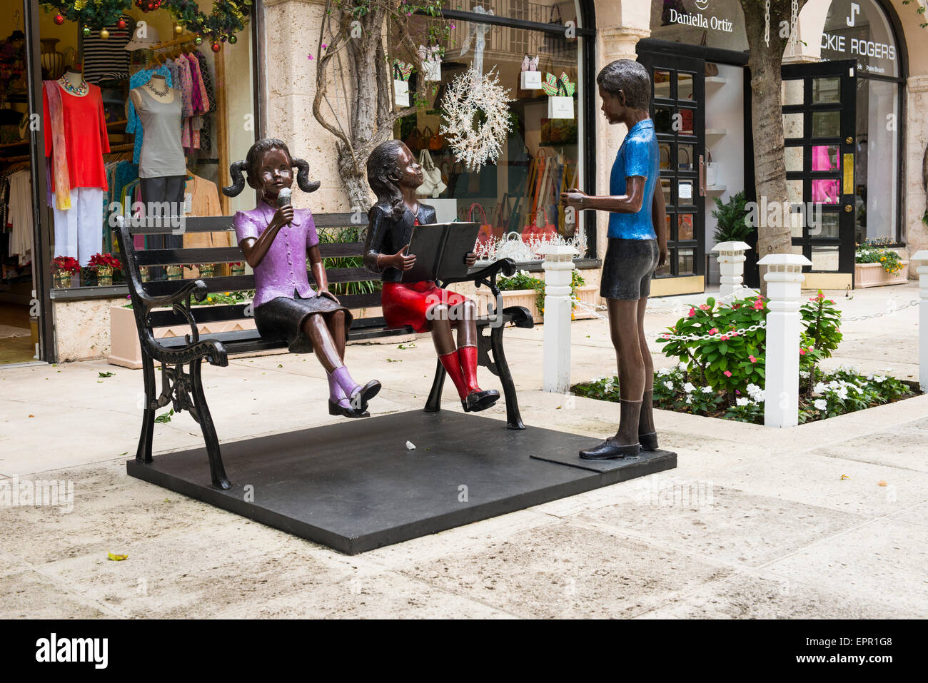 Florida Palm Beach Worth Avenue art work child children figures artist Prince Monyo of Romania statues sculptures Stock Photo