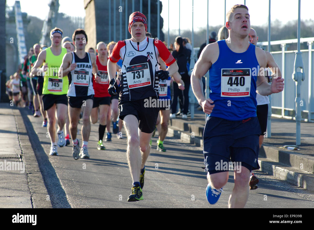 Runners,The Island Race, Half Marathon, Menai Bridge, Anglesey - Stock Image