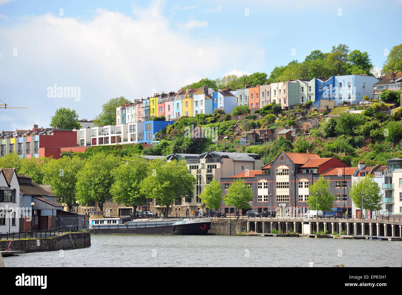 Colourful terraced houses overlooking Bristol Harbour. - Stock Image