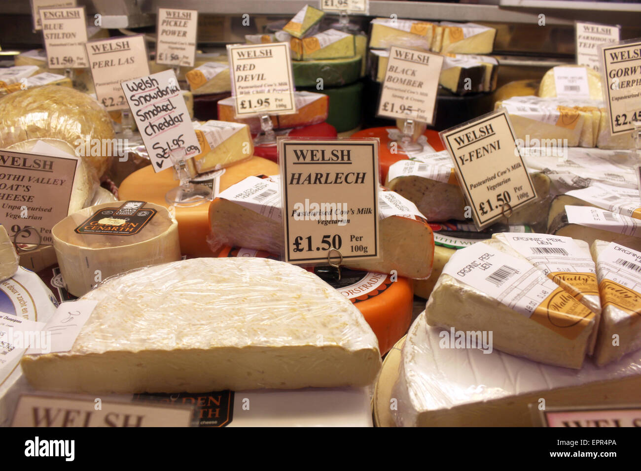 Welsh cheese in a deli in Cardiff - Stock Image