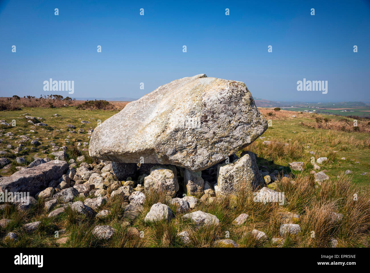 Maen Ceti (Arthur's Stone) Neolithic Burial Chamber on the Gower Peninsula, South Wales - Stock Image