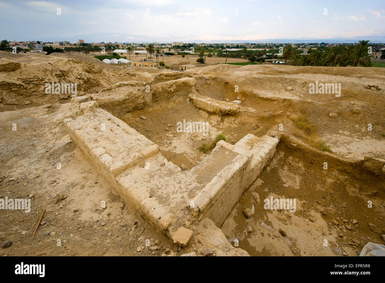 Old ruins and remains in Tell es-Sultan better known as Jericho the oldest city in the world - Stock Image
