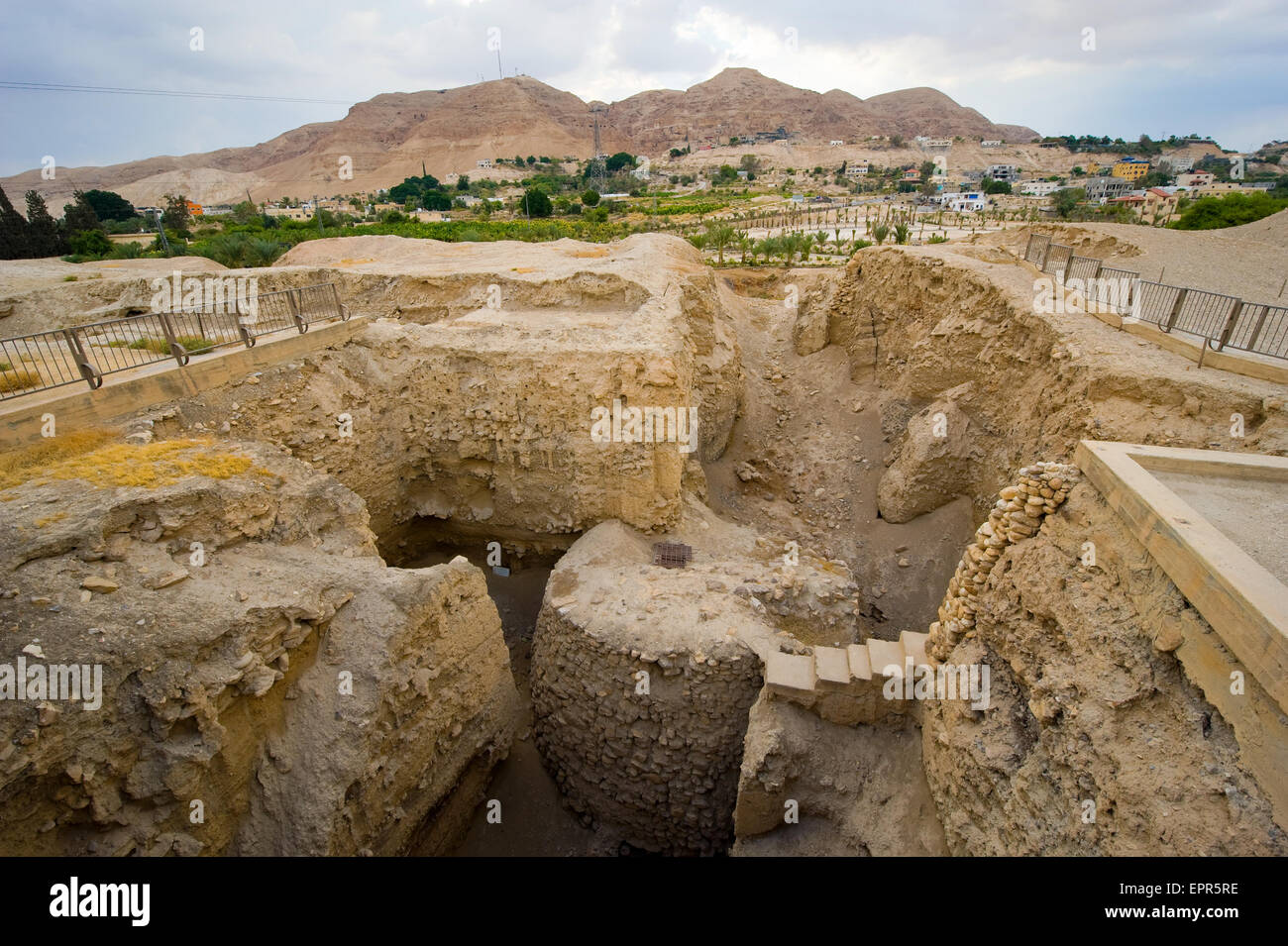 Old ruins and remains in Tell es-Sultan better known as Jericho the oldest city in the world, with the mount of - Stock Image