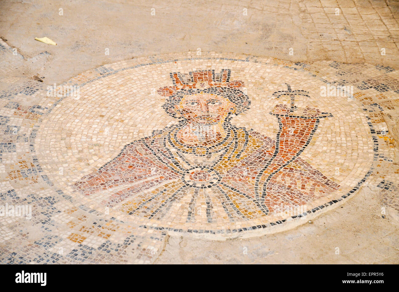 Israel, Bet Shean, The Sigma, A mosaic depicting Tyche, Goddess of the city. This is a copy, the original mosaic - Stock Image