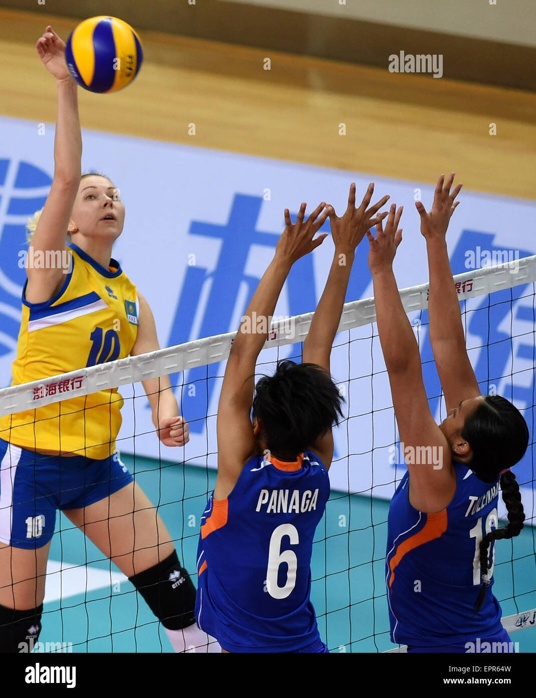 Tianjin, China. 21st May, 2015. Irina Shenberger (L) of Kazakhstan competes during the group D match against the Stock Photo