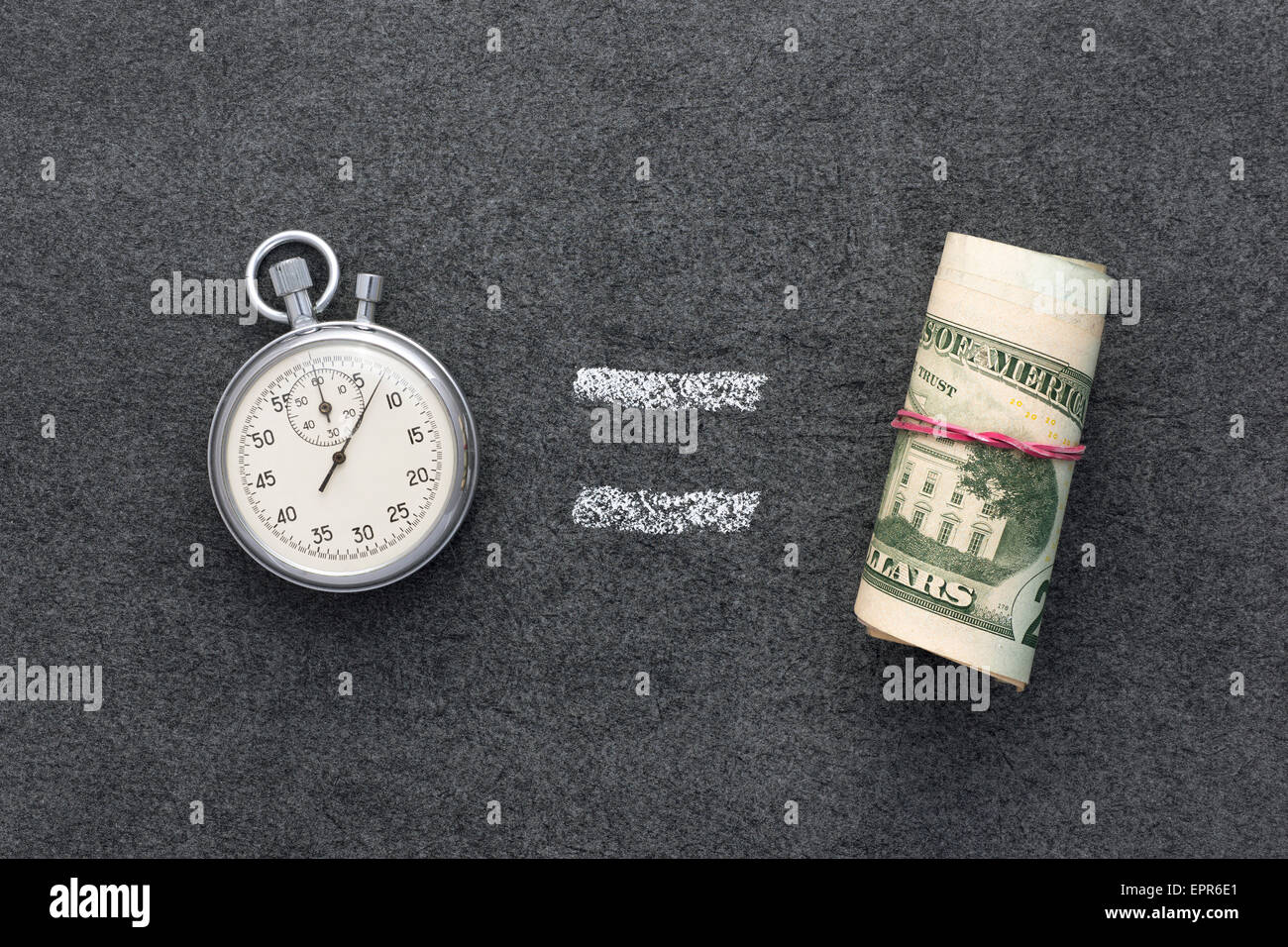 time is money concept on the blackboard - Stock Image