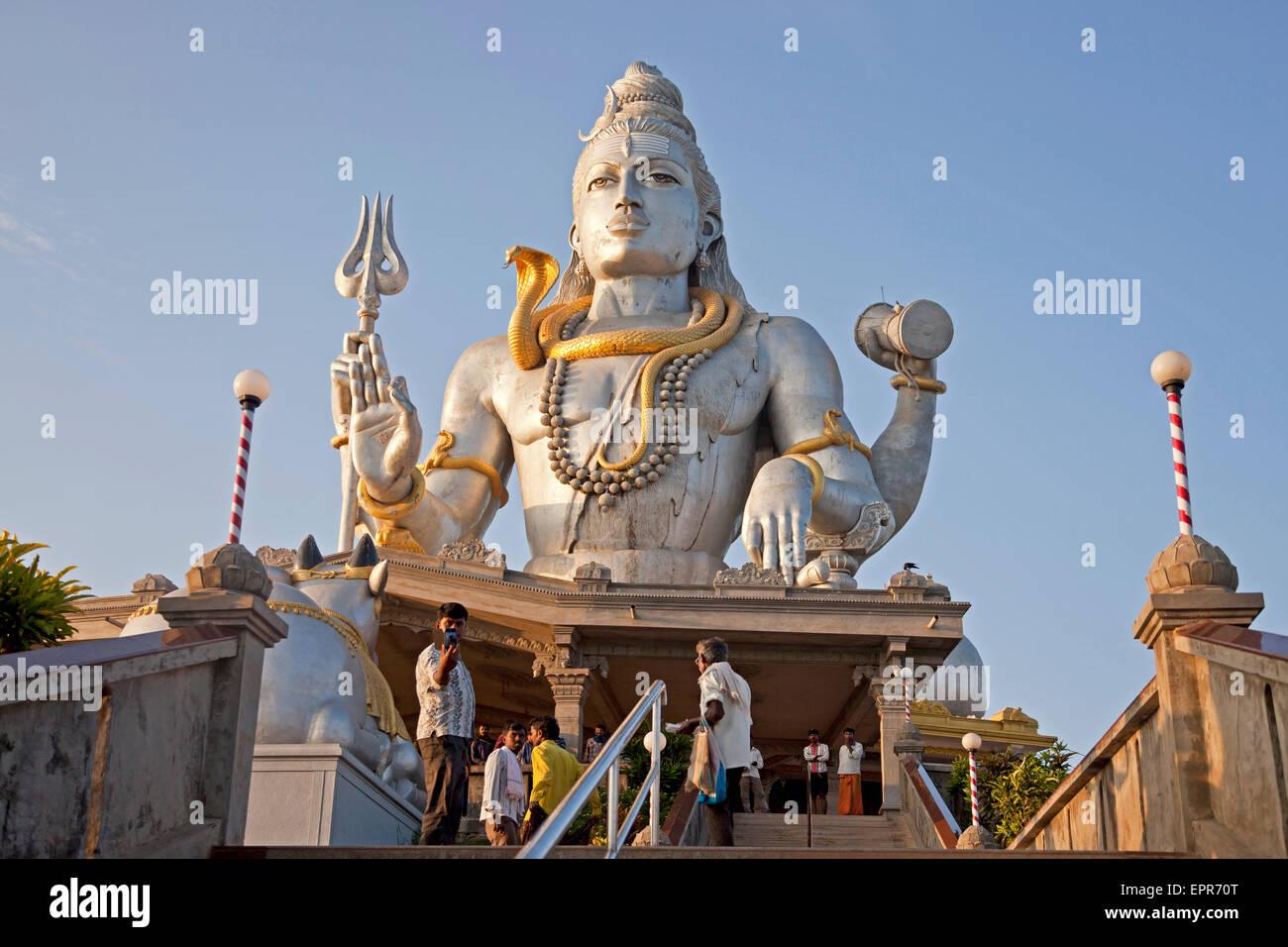 giant Lord Shiva statue at Murudeshwar temple, Murudeshwar, Karnataka, India, Asia - Stock Image
