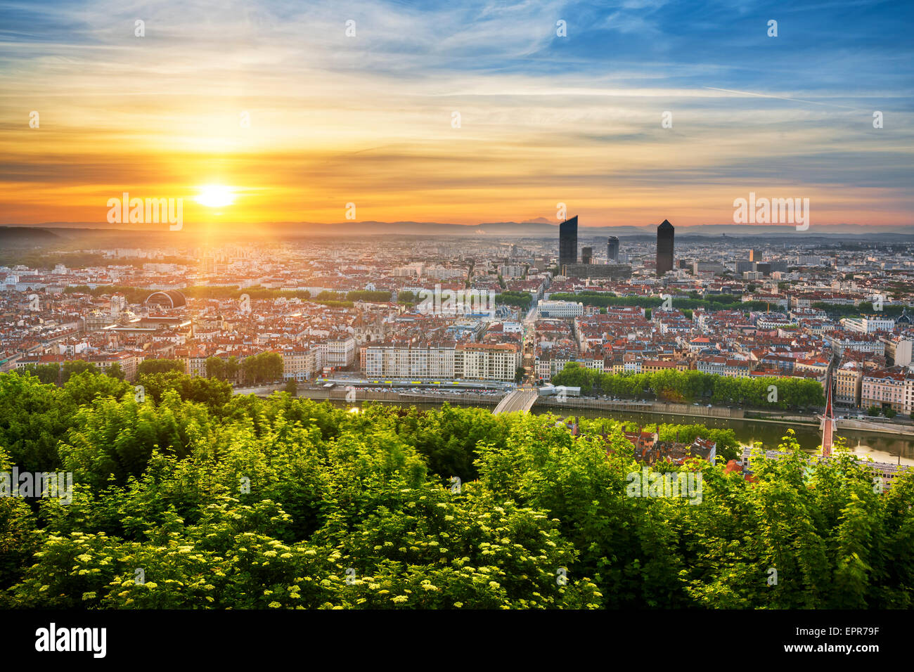 View of Lyon at sunrise, France. - Stock Image