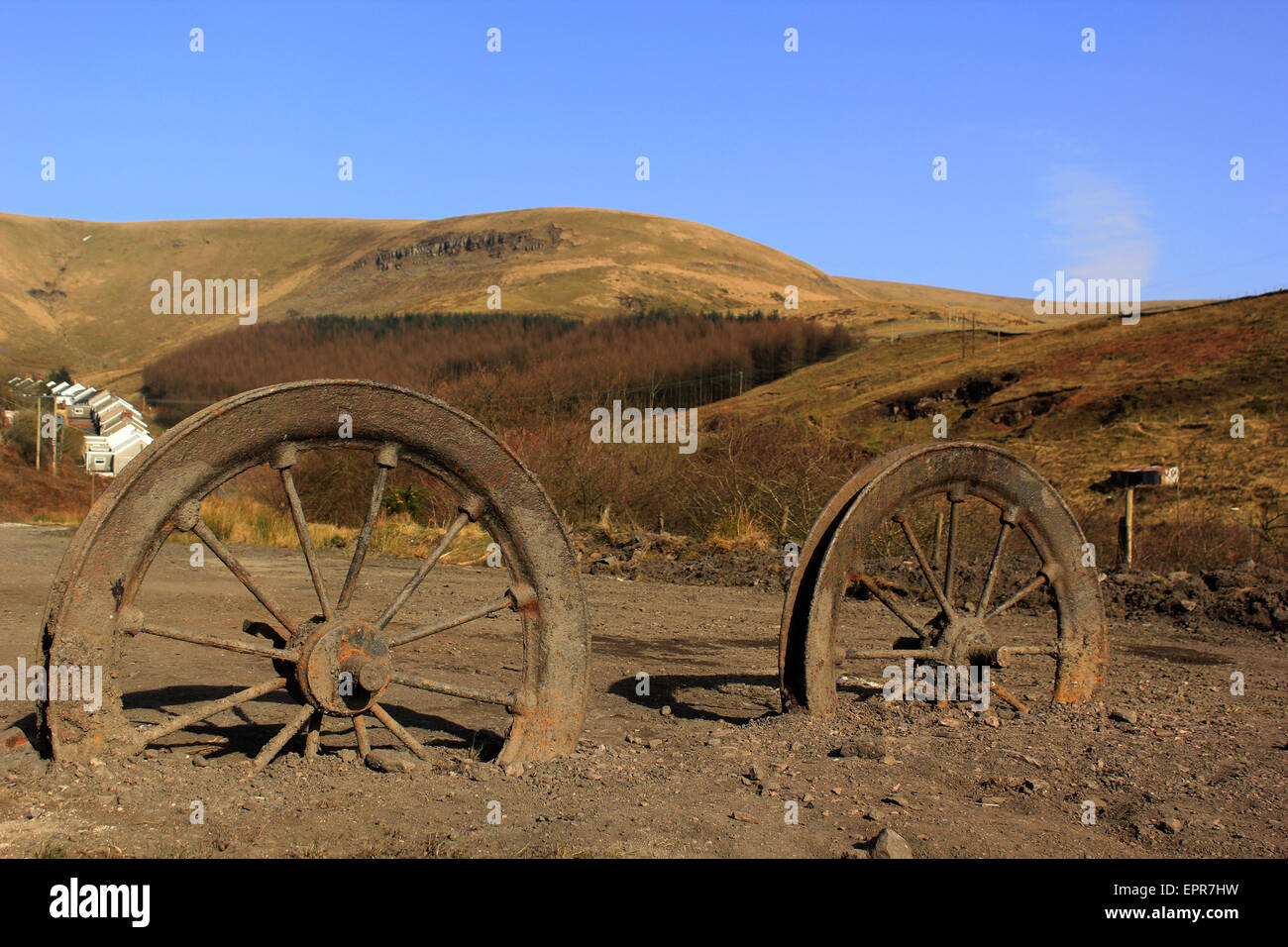 Old mining wheels at the top of the Garw Valley, Blaengarw - Stock Image
