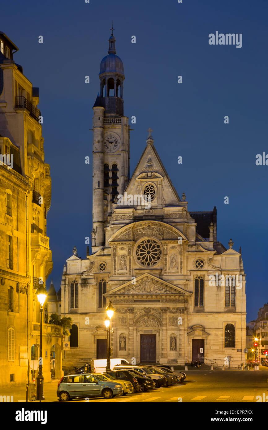Twilight over Eglise Saint Etienne du Mont, Paris, France - Stock Image