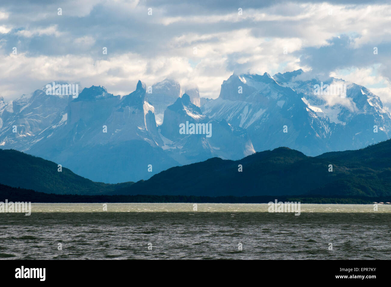 Los Cuernos del Paine (the Horns of Paine) seen from Fiordo Ultima Esperanza, Patagonia, Chile - Stock Image