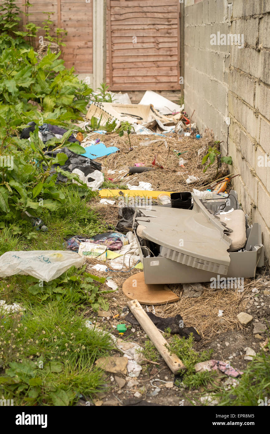 Fly tipping a eyesore in Bradford West Yorkshire - Stock Image