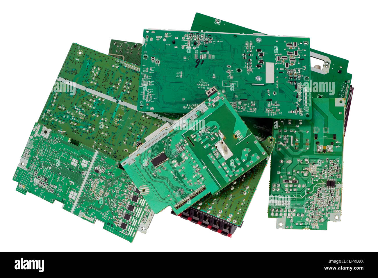 Old electronic mass production  printed-circuit boards are prepared for utilization.  Only position designations - Stock Image