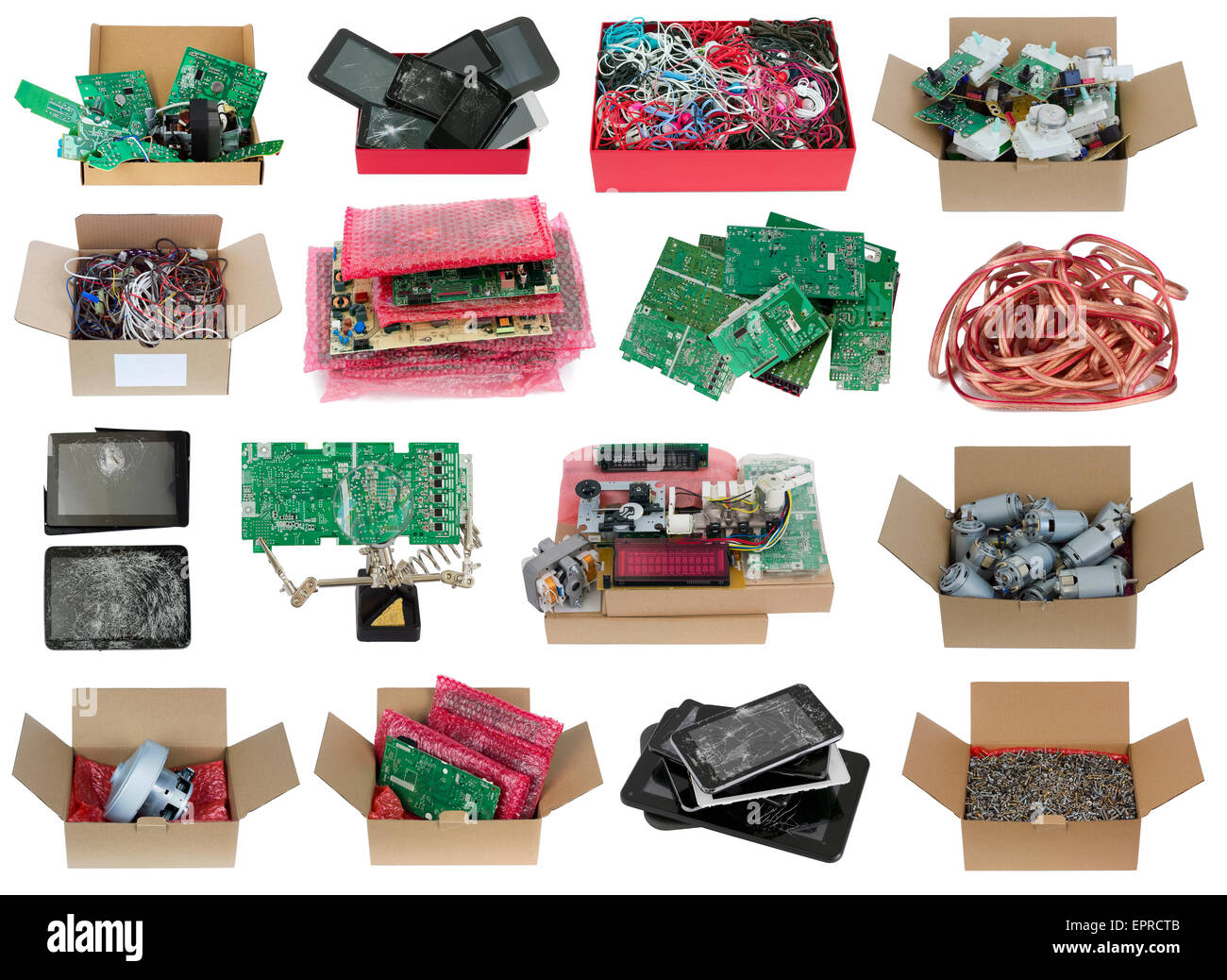 Warehouse of electronic and electric spare parts set  concept. Isolated. All full size images you can find in my - Stock Image