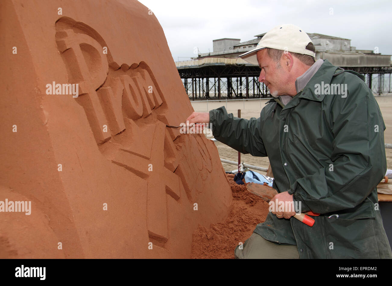 Sand Sculpting, Colwyn Bay - Stock Image