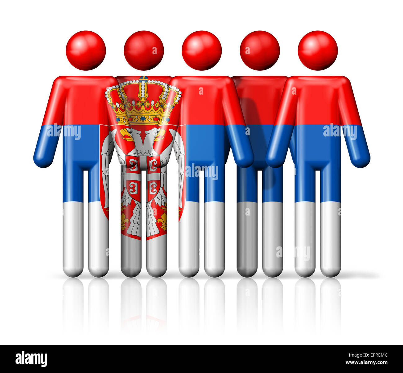 Flag Of Serbia On Stick Figure National And Social Community