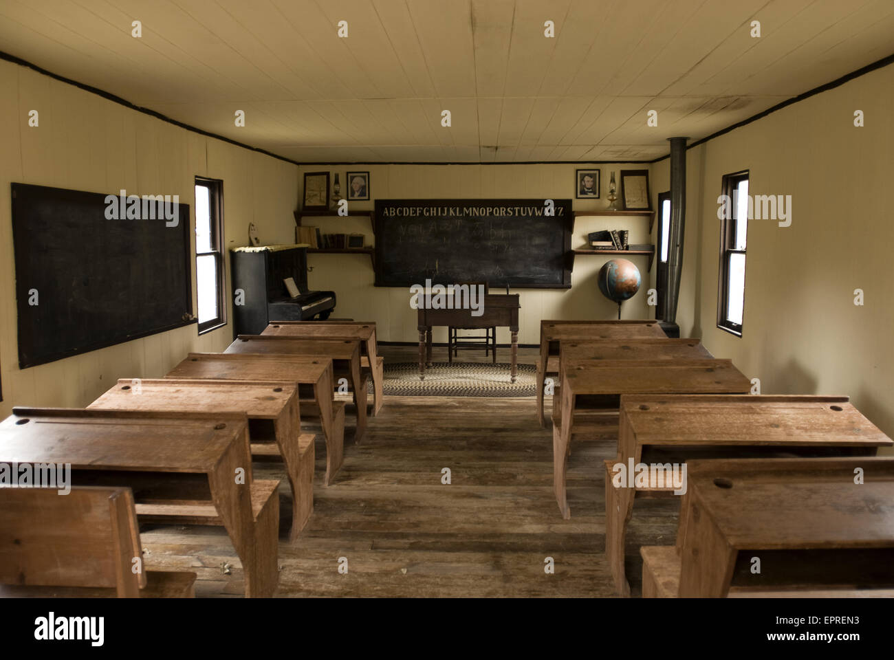 An Old Time One Room School House In Rural Oklahoma Stock Photo