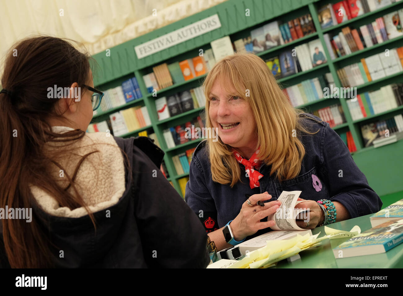 Powys, Wales, UK. 21st May, 2015. Opening day for the 2015 Hay Festival. Author Ruth Symes writing as Megan Rix - Stock Image