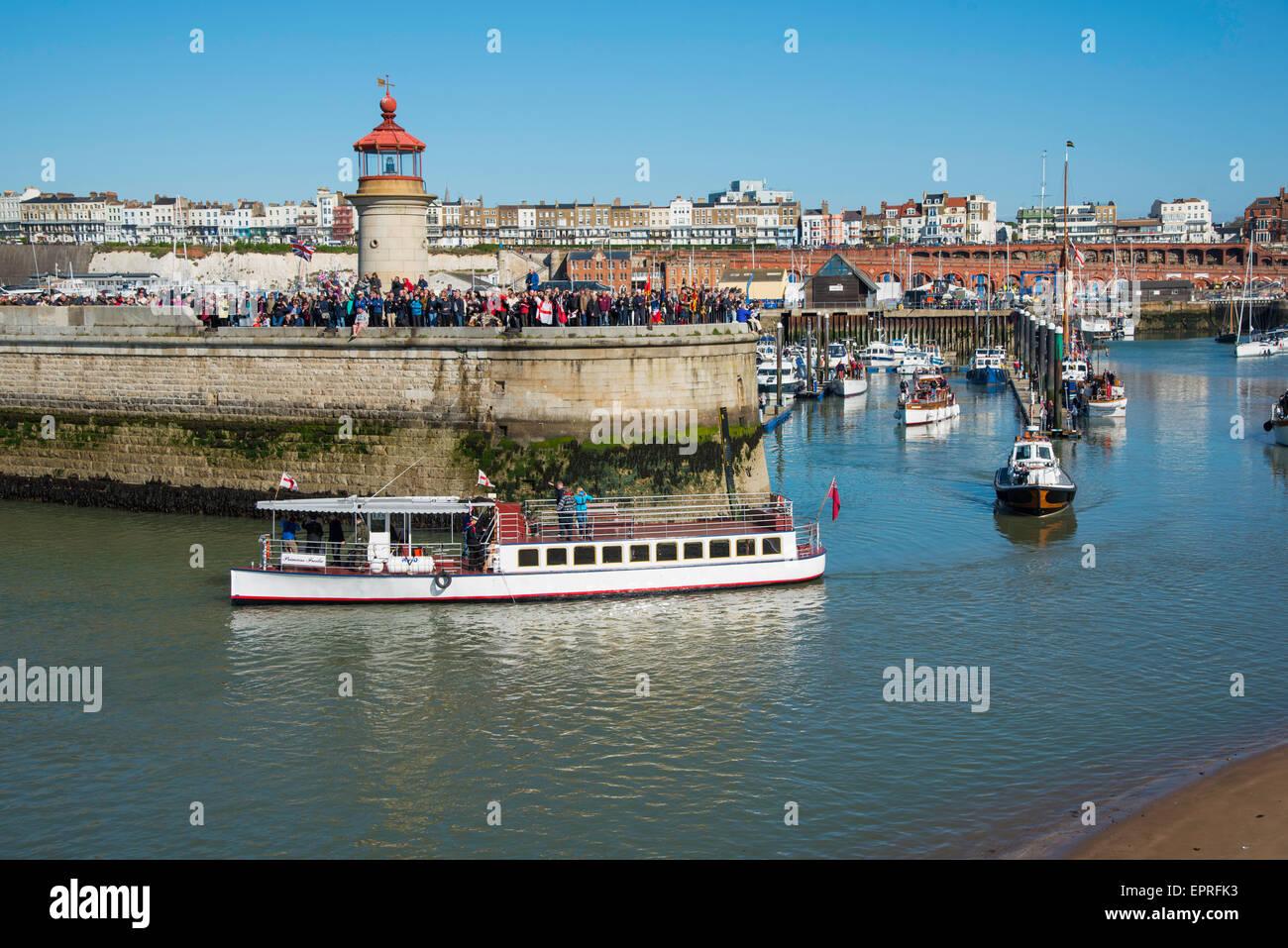 Ramsgate, Kent, UK. 21st May, 2015. Thames Passenger Vessel  and Dunkirk veteran, Princess Freda leaving Ramsgate - Stock Image