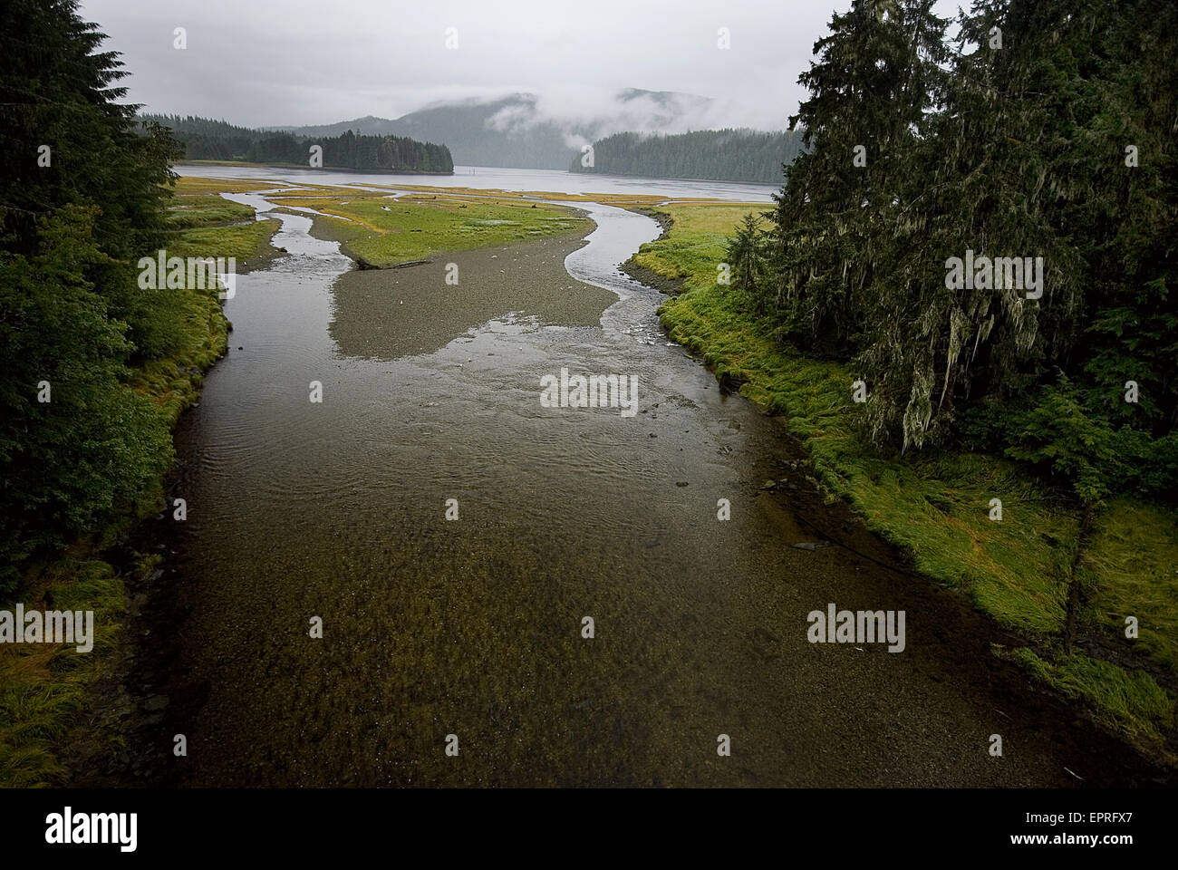 Tidal estuary where the sea becomes river, Alaska Stock Photo