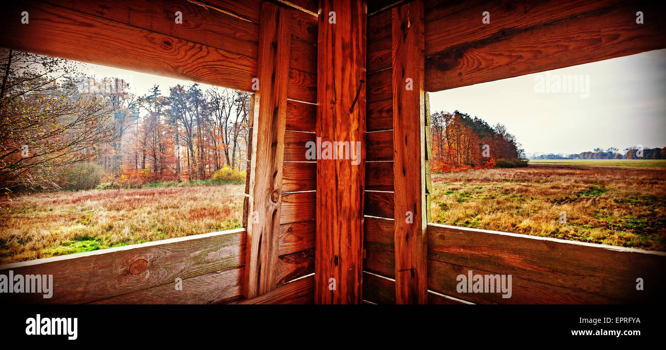 Panoramic view of interior of hunting tower in autumn season. - Stock Image
