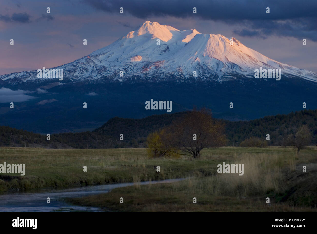Mount Shasta and the Shasta River, Mt. Shasta, CA - Stock Image
