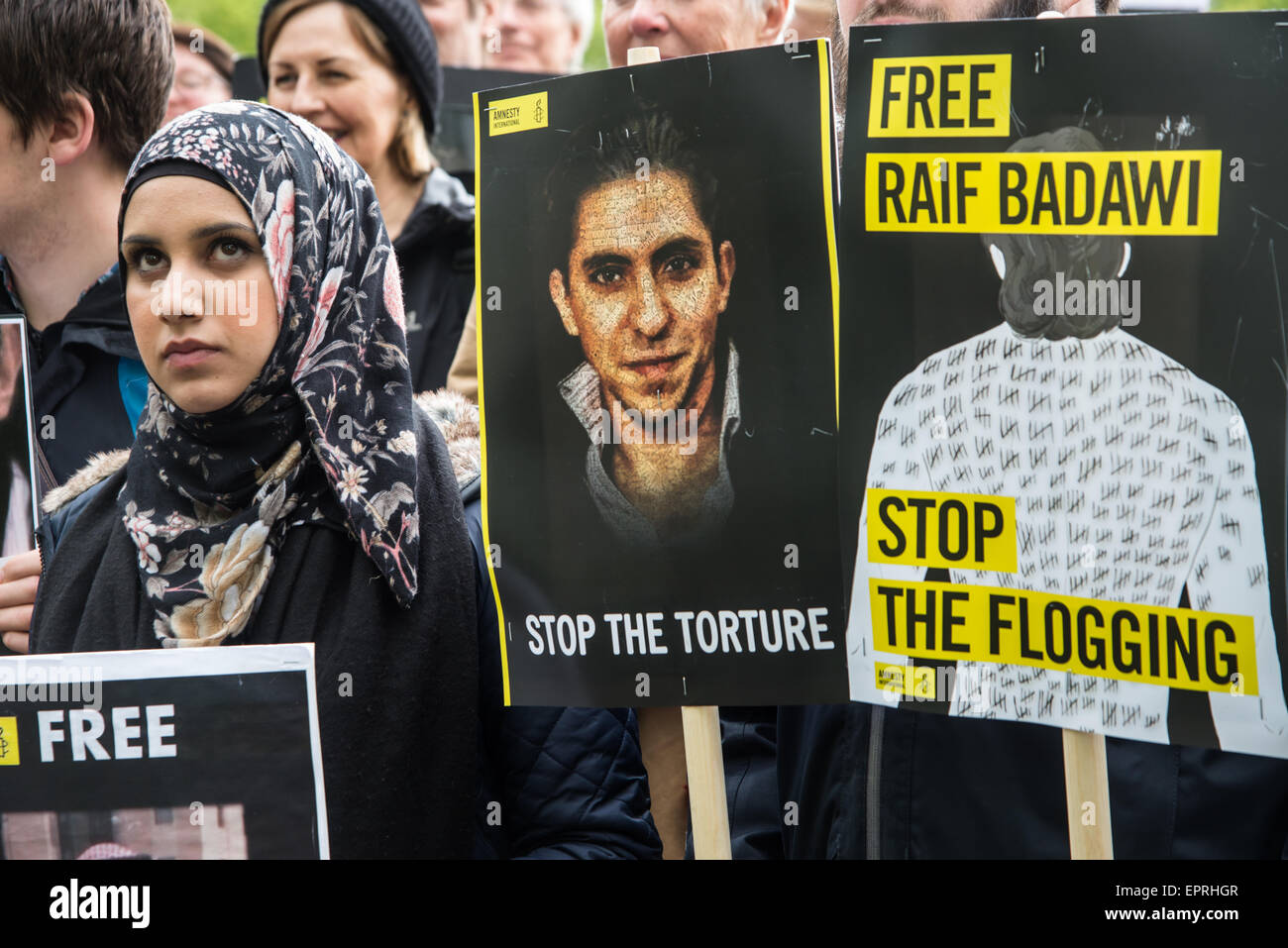 Human rights activists protest at the Saudi Arabian embassy in Oslo to call for the freedom of imprisoned blogger - Stock Image