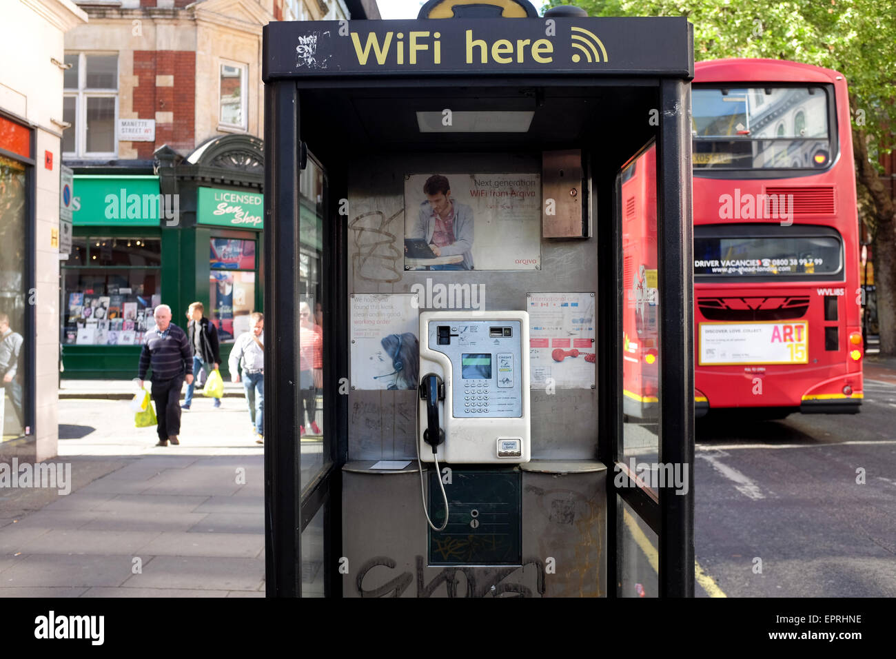 A pay phone in London, England.Stock Photo