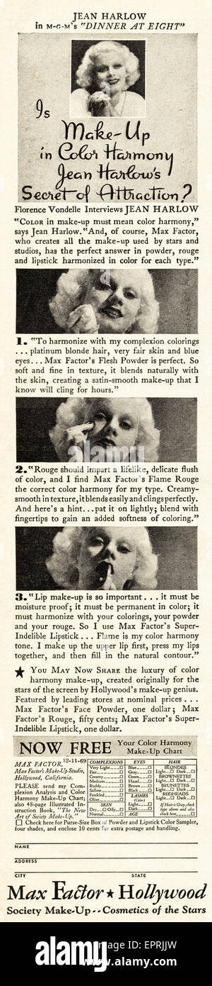 1930s Vintage American magazine advertisement dated November 1933 advertising MAX-FACTOR make-up featuring film - Stock Image