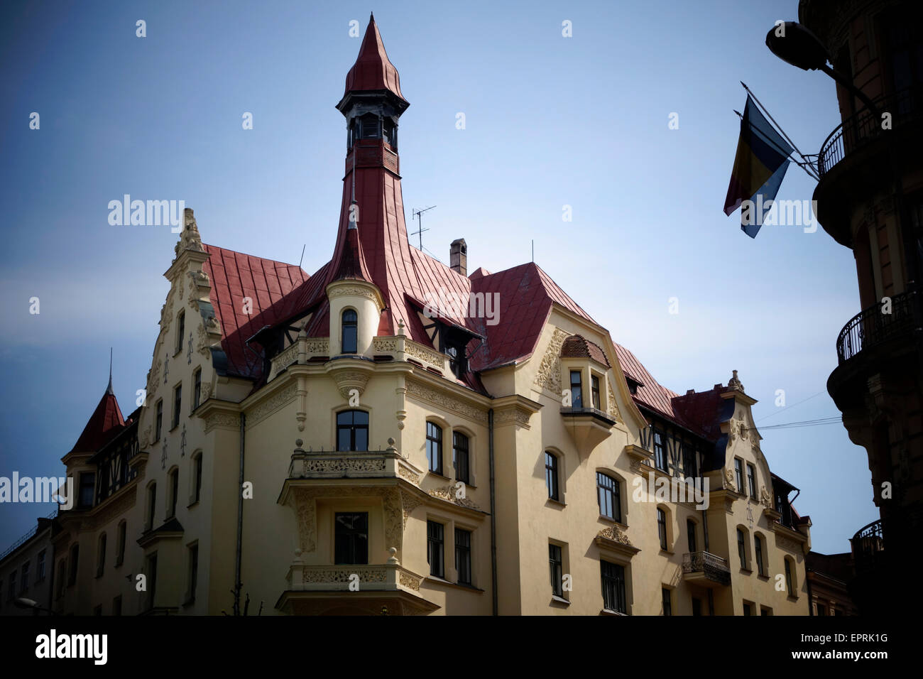 Old mansion in Albert Street ( Latvian: Alberta iela ) known for its Art Nouveau apartment buildings, many of them - Stock Image