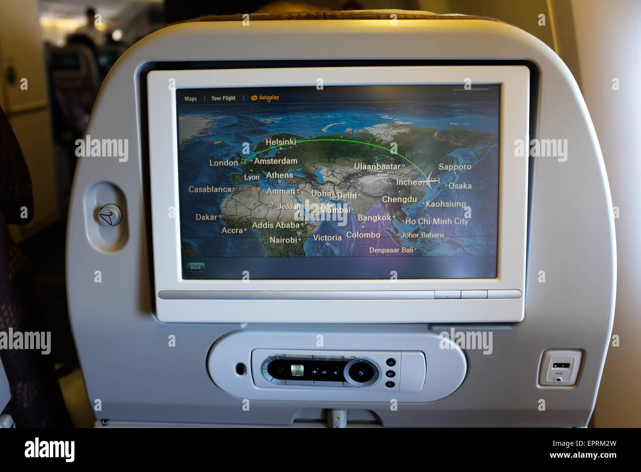 A seat-back screen on a Korean Air passenger plane. - Stock Image